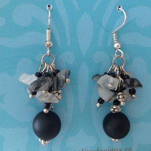 Tourmalined quartz grape style earrings (E007)